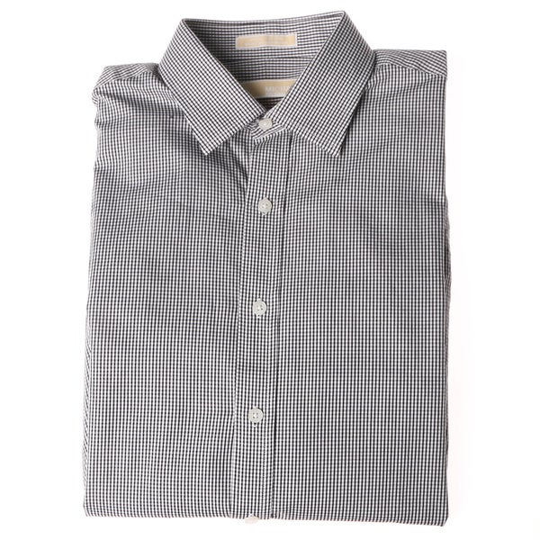 Michael Kors Men's Jet Black Checkered Long-sleeve Dress Shirt (Size 16 - 32-33)