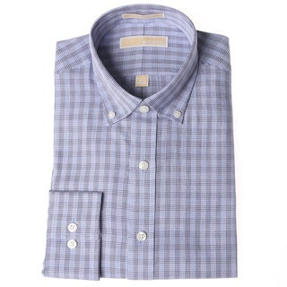 Michael Kors Men's Ocean Blue Checkered Dress Shirt