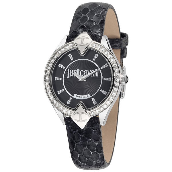 Just Cavalli Women's Sphinx Black Leather Watch