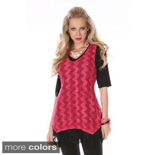 Women's Chevron Knit Fringe-hem Sleeveless Top