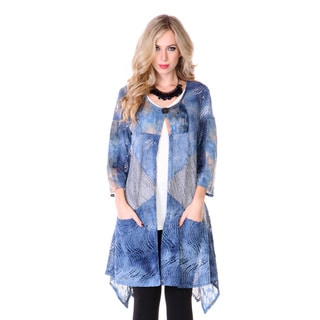 Women's Blue Sheer Knit 3/4-sleeve Long Cardigan