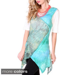 Women's Openwork Knit Draped Sleeveless Top