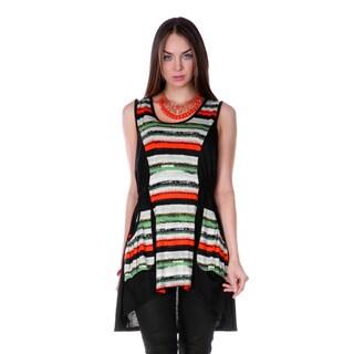 Women's Black Striped Panel Sleeveless High-low Top