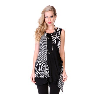 Women's Black and White Patchwork Sleeveless Top