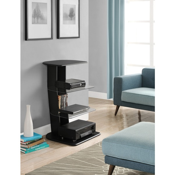 Altra Galaxy Black Audio Pier with Glass Shelves
