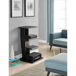 Galaxy Black Audio Pier with Glass Shelves