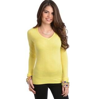 Feellib Women's Slim Fit Yellow Long Sleeve Top