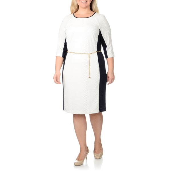 Studio One Women's Plus Size Wave Knit Dress