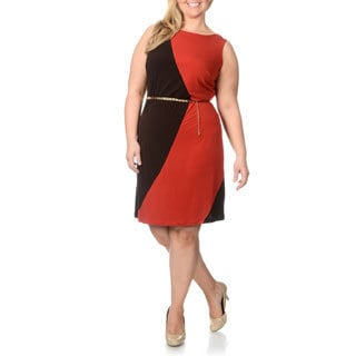 Studio One Women's Plus Size 'ITY' Colorblocked Sleeveless Dress