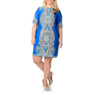 Studio One Women's Plus Size Paisley Print A-line Dress