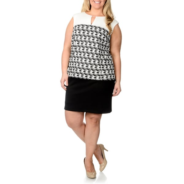 Studio One Women's Plus Size Jacquard Print Knit Dress