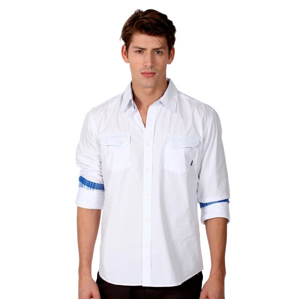191 Unlimited Men's Slim Fit White Woven Shirt