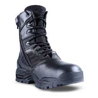 Ridge Men's '9000' Black Mid-calf Leather and Nylon Work Boots