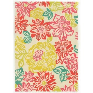 Trio Collection Brights Floral Multicolored Area Rug (8' x 10')