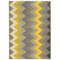 Linon Trio Collection Chevron Grey/ Yellow Area Rug (8' x 10')