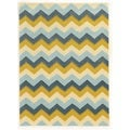 Trio Collection Chevron Blue/ Yellow Area Rug (8' x 10')
