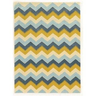 Linon Trio Collection Chevron Blue/ Yellow Area Rug (8' x 10')