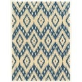 Trio Collection Ikat Ivory/ Blue Area Rug (5' x 7')
