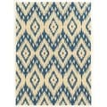 Trio Collection Ikat Ivory/ Blue Area Rug (8' x 10')