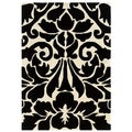 Trio Collection Damask Black/ White Area Rug (2' x 3')