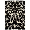 Trio Collection Damask Black/ White Area Rug (8' x 10')