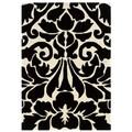 Trio Collection Damask Black/ White Area Rug (8' x 10')