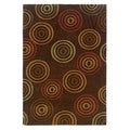 Trio Collection Multi Rings Brown Area Rug (2' x 3')