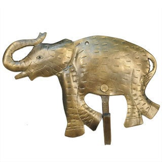 Recycled Metal Goldtone Elephant Wall Hook (India)