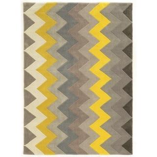Linon Trio Collection Chevron Grey/ Yellow Area Rug (2' x 3')