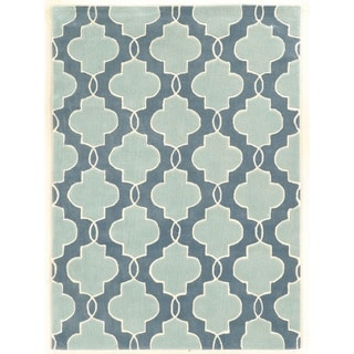 Trio Collection Moroccan Blue/ Ivory Area Rug (5' x 7')