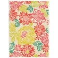 Trio Collection Floral Grey/ Yellow Area Rug (5' x 7')