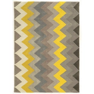 Trio Collection Chevron Grey/ Yellow Area Rug (5' x 7')