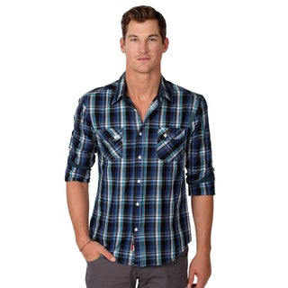 191 Unlimited Men's Slim Fit Blue Plaid Woven Shirt