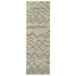 Hand-tufted Utopia Cascade Beige/ Emerald Wool Runner Rug (3' x 10')