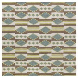 Flatweave TriBeCa Green/ Multi Wool Area Rug (8' Square)