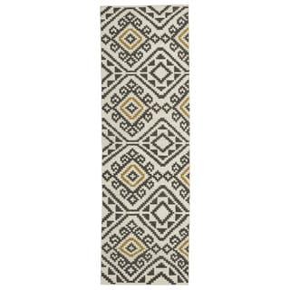Flatweave TriBeCa Motif Grey Wool Runner Rug (2'6 x 8')