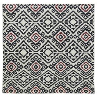 Flatweave TriBeCa Motif Black Wool Area Rug (8' Square)