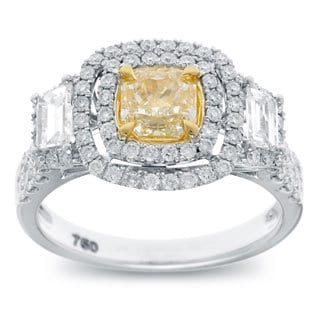 18k Two-tone Gold 2 1/5ct TDW Cushion-cut Natural Yellow Double Halo Diamond Engagement Ring (G-H, SI2-SI1)