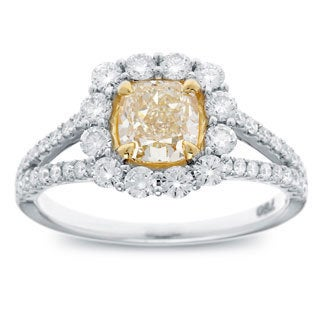 18k Two-tone Gold 1 4/5ct TDW Cushion-cut Natural Fancy Yellow Diamond Halo Engagement Ring (G-H, SI2-SI1)