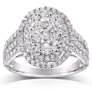 Annello 10k White Gold 1 1/2ct TDW Oval Cluster Round Diamond Ring (H-I, I2-I3) with Bonus Item
