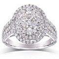 Annello 10k White Gold 1 1/2ct TDW Oval Diamond Ring (H-I, I2-I3)