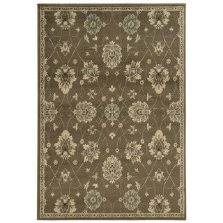 Casual Floral Brown/ Beige Area Rug (6'7 x 9'3)