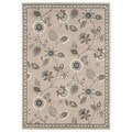 Casual Floral Stone/ Blue Accent Rug (1'10 x 2'10)