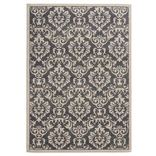 Traditional Floral Charcoal/ Ivory Area Rug (5'3 x 7'3)