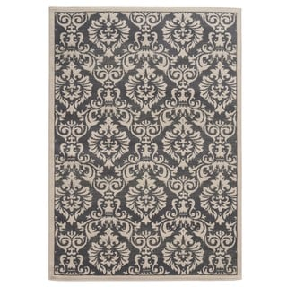 Traditional Floral Charcoal/ Ivory Area Rug (6'7 x 9'3)