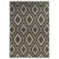 Ikat Lattice Design Charcoal/ Grey Area Rug (3'3 x 5'5)