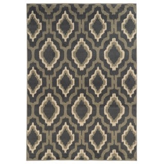 Ikat Lattice Design Charcoal/ Grey Area Rug (5'3 x 7'3)