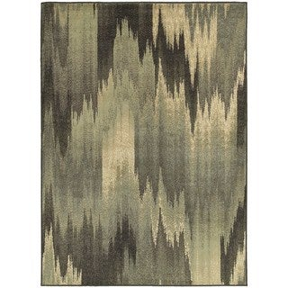 Abstract Ikat Blue/ Grey Area Rug (6'7 x 9'3)