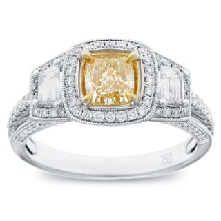 18k Two-tone Gold 1 1/2ct TDW Cushion-cut Natural Fancy Yellow Diamond Ring (G-H, SI2-SI1)
