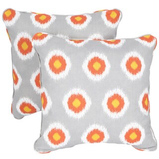 Ikat Citrus Dots Corded Indoor/ Outdoor Square Pillows (Set of 2)